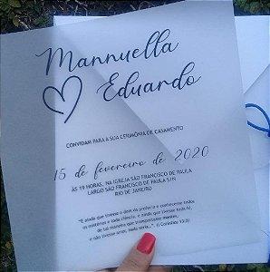 Convite de Casamento Transparência Minimalista Mannuella e Eduardo