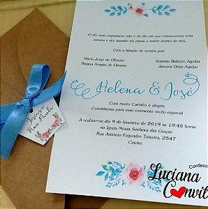 Convite de Casamento Rústico Helena e José
