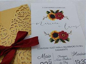 Convite de Casamento Girassol