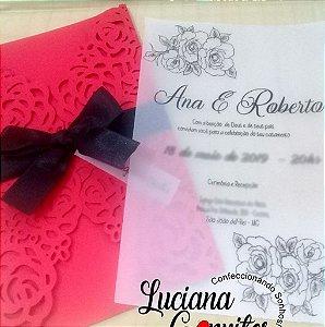 Convite De Casamento Floral Rendado Translúcido
