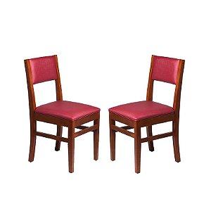 Conjunto - 2 Cadeiras Ametista, Estrutura em Madeira Maciça e Estofado na Cor Vinho