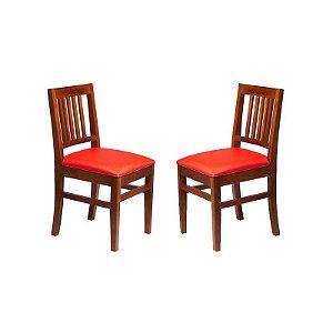 Conjunto - 2 Cadeiras Pérola Estrutura em Madeira Maciça