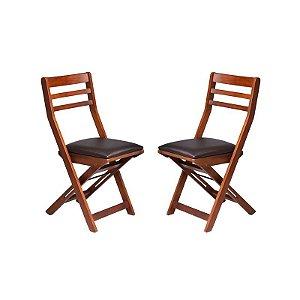 Conjunto - 2 Cadeiras Lagoinha Estrutura em Madeira Maciça