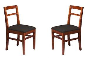PROMOÇÃO Conjunto - 2 Cadeiras Ágata  (PRETO) Estrutura em Madeira Maciça