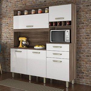 Armário de Cozinha 5 Portas 2 Gavetas Smart Nogal/Branco - Nesher