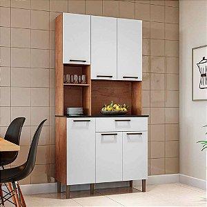 Armário de Cozinha 6 Portas 1 Gaveta Tannat Gold Castanho/Branco - Ronipa
