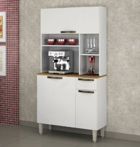 Armário de Cozinha 3 Portas 1 Gaveta Jaspe Branco - Sallêto