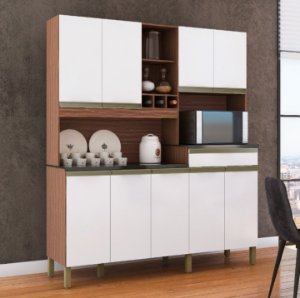 Armário de Cozinha 9 Portas 1 Gaveta Merlot Perfil Sevilha/Branco - Ronipa