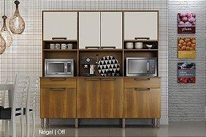 Armário de Cozinha 8 Portas 2 Gavetas Imola Nogal/Off - Sallêto