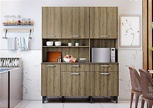 Armário de Cozinha 6 Portas 2 Gavetas KIT-160 6PT2GV Castanho - Itatiaia