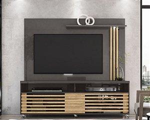 Painel Home TV até 65 Polegadas Frizz Titânio/Carvalho - Madetec