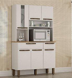 Armário de Cozinha 6 Portas 2 Gavetas Turim Branco - Sallêto
