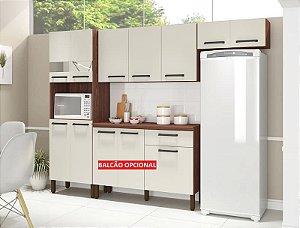 Cozinha 9 Portas Com Nicho Versalhes Nogueira/Off White - Kits Paraná