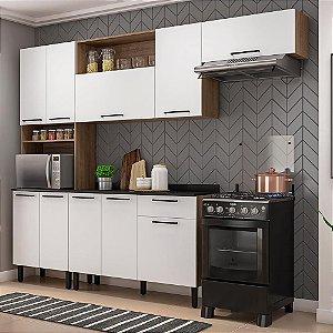 Cozinha Completa 10 Portas com Balcão Acácia Castanho/Branco - Itatiaia