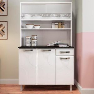 Kit Cozinha Aço 5 Portas 1 Gaveta 811266-01 Rubi Glass Branco - Telasul