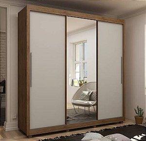 Guarda Roupa Royale 3 Portas Com Espelho Madeirado/Madeirado/Off White Flex - Gelius