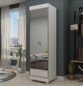 Sapateira 1 Porta com Espelho Esmeralda Branco - Gelius