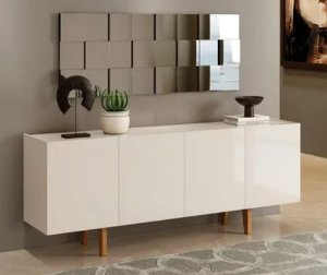 Aparador Buffet Dinner Italiano 4 Portas Off White - Mavaular