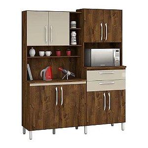 Armário de Cozinha Rubi 8 Portas - Malbec com Camurça
