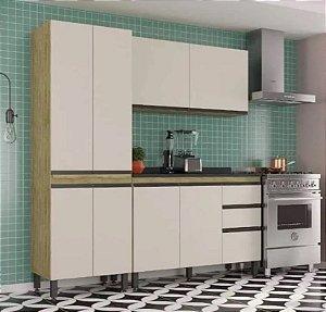 Cozinha Compacta Viana Com Balcão 8 Portas - 3 Gavetas