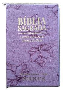 BÍBLIA LETRA GIGANTE COM HARPA - CAPA COM ZÍPER LILÁS FOLHA