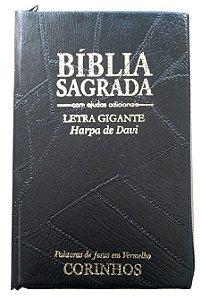 BÍBLIA LETRA GIGANTE COM HARPA - CAPA COM ZÍPER CAPA PRETA