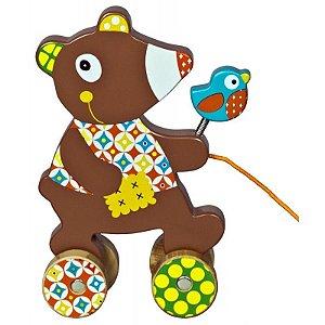 Urso com passarinho para puxar em madeira