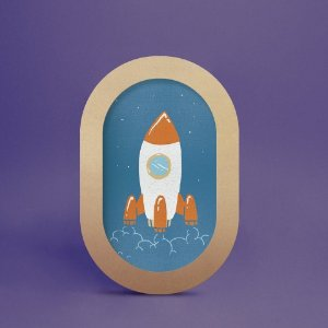 Quadro oval foguete