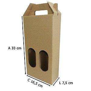Caixa de Papelão p/ 2 garrafas 16,5x7,5x33 cm  25 unidades