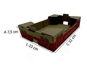 Caixa de Papelão Pardo para Morangos 32x23x7,5 cm - 50 unidades
