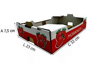 Caixa de Papelão Branco para Morangos 32x23x7,5 cm - 50 unidades