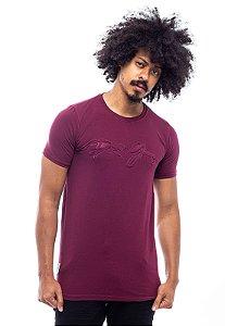 Camiseta Long Winter Face Alto Relevo Vinho