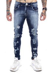 Calça New Rasgada Jeans Escura