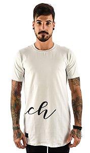 Camiseta Long Básica Escrita Lateral Branca
