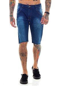 Bermuda Jeans Básica Simples Azul