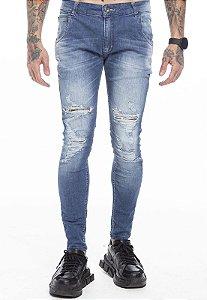 Calça Jeans Rasgada Básica Escura