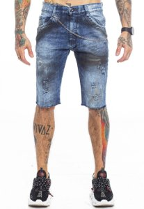 Bermuda Jeans Corrente de Cintura Azul