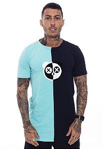 Camiseta Long Superstar Urso Chenille Verde Água com Preto