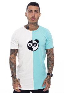 Camiseta Long Superstar Urso Chenille Off White com Verde Água