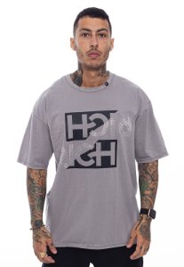 Camiseta Oversized Superstar Double Rich Pedraria Cinza