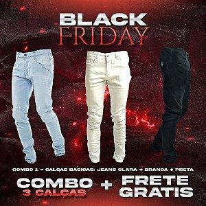 Combo Frete Grátis: 3 Calças Básicas Jeans e Sarja