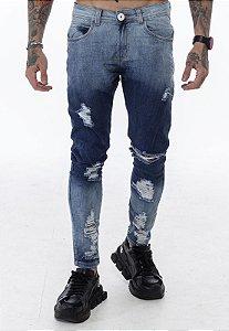 Calça Classic Rasgada Jeans Degradê