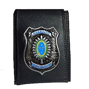 Carteira Escudo Black Brasão Exército Brasileiro (Couro)
