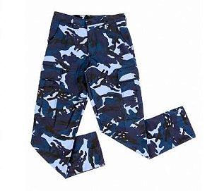 Calça Tática Camuflada Azul Woodland