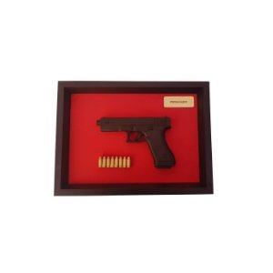 Quadro Moldura Decorativa (Pistola Glock)