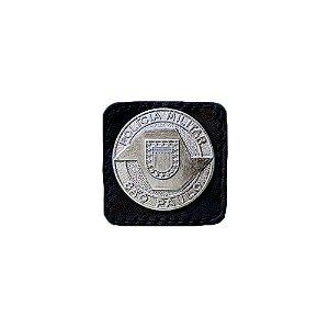 Broche Laurea 4° Grau PM/SP Couro (Preto/Niquel)