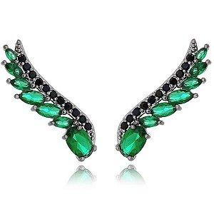 Brinco Ear Cuff Zircônia Negra e Cristal Verde - Banho Ródio Negro