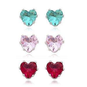 Trio de Brincos Coração Cristal Rosa, Turmalina e Rubi - Banho Ouro ou Ródio