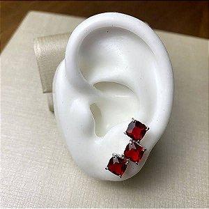 Brinco Ear Cuff Rubi - Banho Ródio