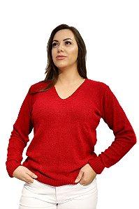 Blusa Tricô Decote V Lã de Mousse